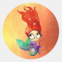 artsprojekt, mermaid, spooky mermaid, red hair, octopus, halloween, skulls, halloween mermaid, under the water, underwater design, horror, halloween girl, halloween design, scary mermaid, trick or treat, halloween idea, Sticker with custom graphic design