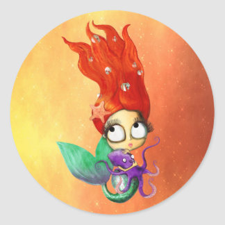 Spooky Mermaid with Octopus Classic Round Sticker