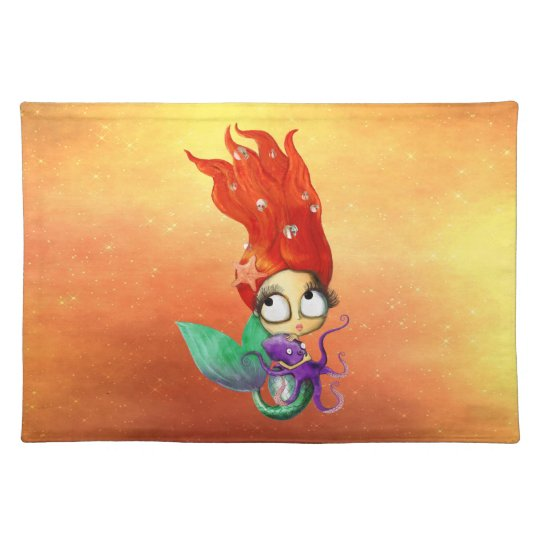 Spooky Mermaid with Octopus Cloth Placemat