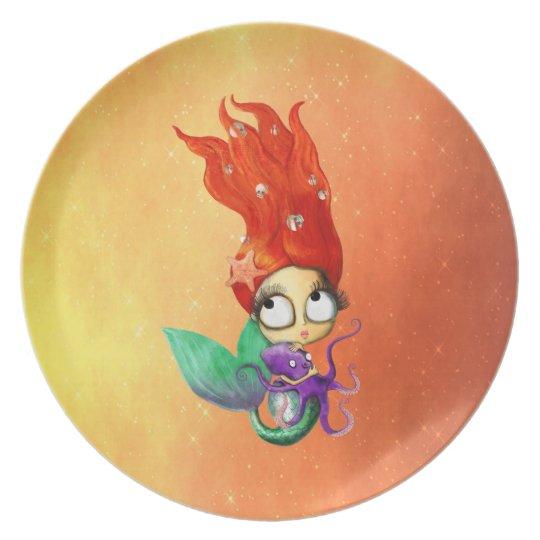 Spooky Mermaid with Octopus Dinner Plate