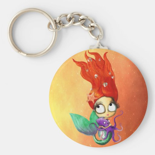 Spooky Mermaid with Octopus Basic Round Button Keychain