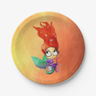 Spooky Mermaid with Octopus Paper Plate