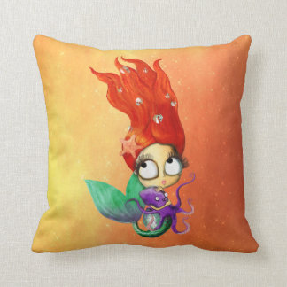 Spooky Mermaid with Octopus Throw Pillows