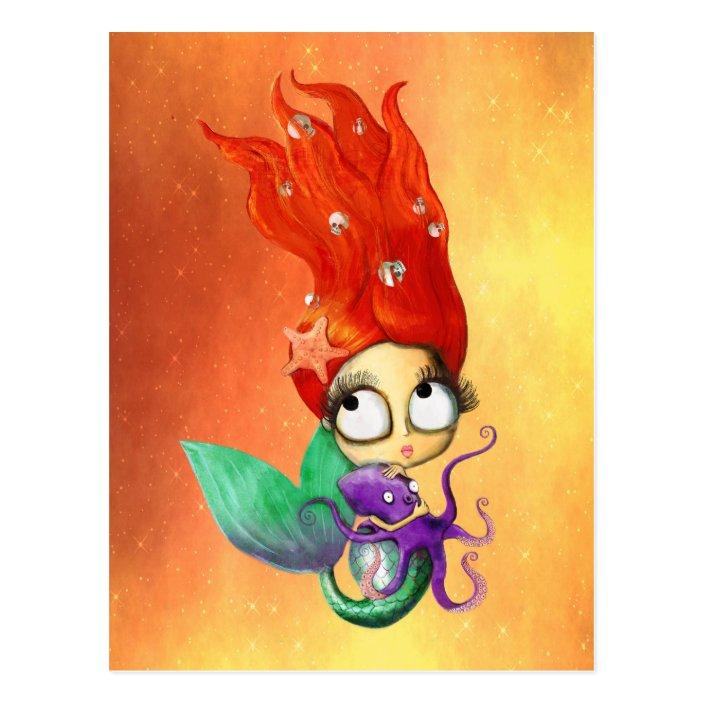Spooky Mermaid With Octopus Postcard Zazzle Com