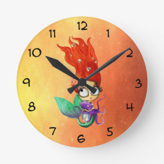 Spooky Mermaid with Octopus Round Clock