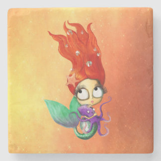 Spooky Mermaid with Octopus Stone Coaster