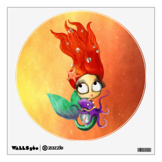Spooky Mermaid with Octopus Wall Sticker
