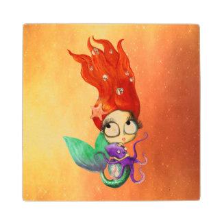 Spooky Mermaid with Octopus Wood Coaster