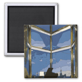Spooky Midnight Window and Moon Refrigerator Magnet