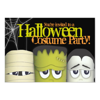 Spooky Monster & Friends Halloween Costume Party 5x7 Paper Invitation Card