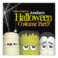 Spooky Monster & Friends Halloween Costume Party Card at Zazzle