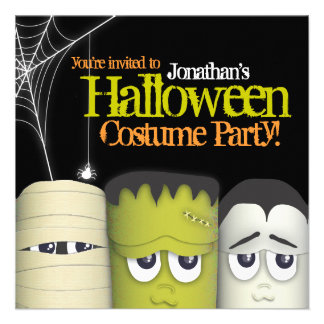 Spooky Monster Friends Halloween Costume Party Personalized Announcements