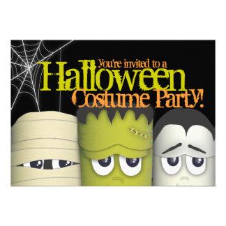Spooky Monsters Mummy Halloween Costume Party Custom Invitations