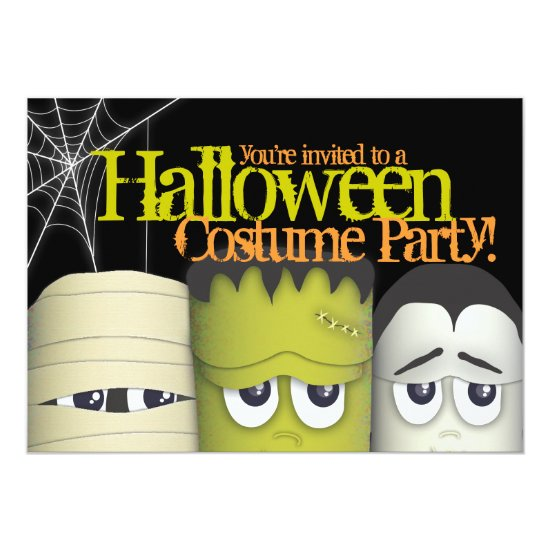 Spooky Monsters & Mummy Halloween Costume Party Invitation