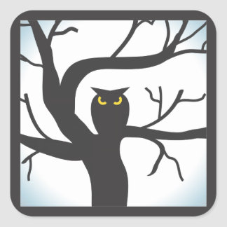 Spooky Moon and Owl Halloween Sticker