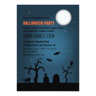 Spooky Moon Silhouette Halloween Party 4.5x6.25 Paper Invitation Card