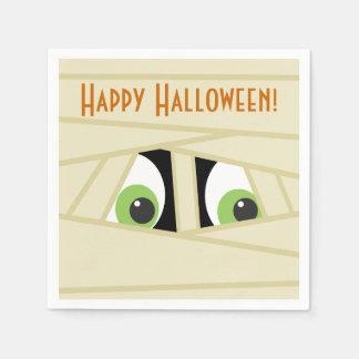 Spooky Mummy Head Halloween Paper Napkins Standard Cocktail Napkin