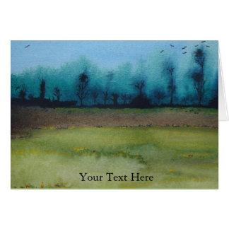 Spooky mystic woodland landscape original art card
