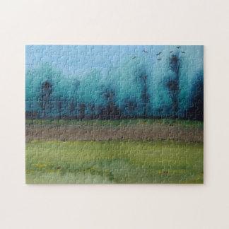 Spooky mystic woodland landscape painting jigsaw jigsaw puzzle