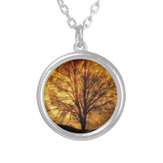 Spooky Night Moon Tree Autumn Destiny Gifts Round Pendant Necklace