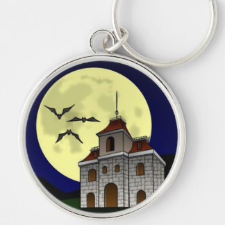 SPOOKY NIGHT, SPOOKY HOUSE (Halloween) ~ Silver-Colored Round Keychain