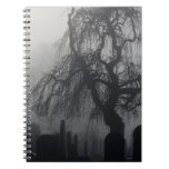 Spooky Old Cemetery On A Foggy Day Spiral Notebooks