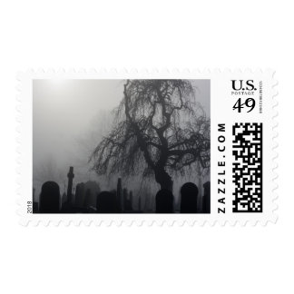 Spooky Old Cemetery On A Foggy Day Postage