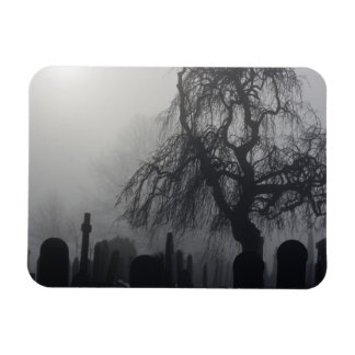 Spooky Old Cemetery On A Foggy Day Rectangular Photo Magnet