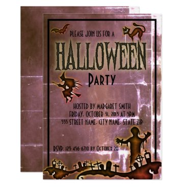 Halloween Themed Spooky Old Paper Halloween Party Invite