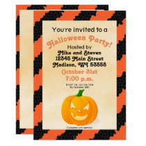 Spooky Orange and Black Pumpkin Halloween Party Invitation