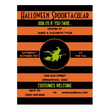 PD_Graphics Spooky Orange, Black and Green Halloween Party Postcard