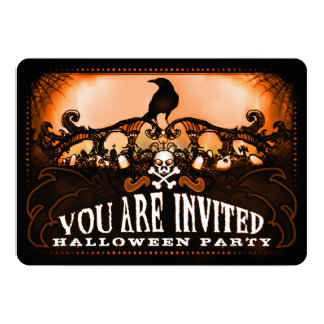 Spooky Orange & Black Raven Halloween Party Invite