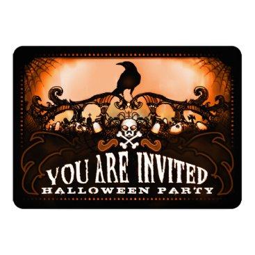 juliea2010 Spooky Orange & Black Raven Halloween Party Invite