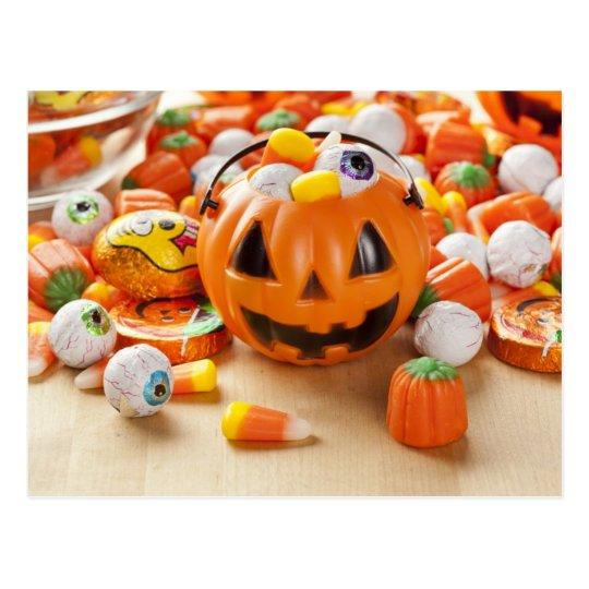 Spooky Orange Halloween Candy Postcard