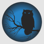 Spooky Owl Blue Moon Classic Round Sticker