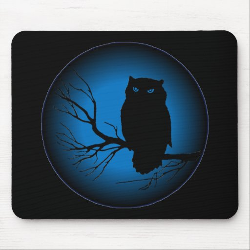 Spooky Owl Blue Moon Mouse Pad