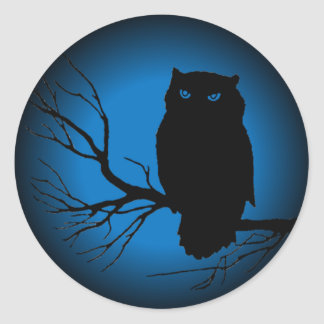 Spooky Owl Blue Moon Round Stickers