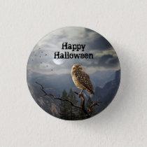 Spooky Owl Halloween Button