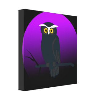 Spooky Owl in Nights Sky Canvas Print