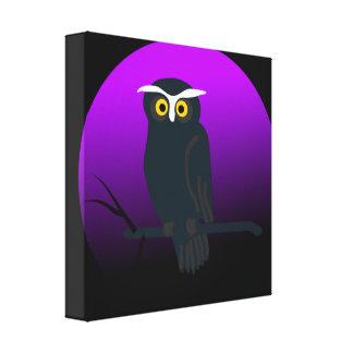 Spooky Owl in Nights Sky Canvas Print