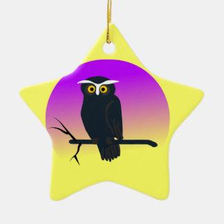 Spooky Owl in Nights Sky Ceramic Ornament