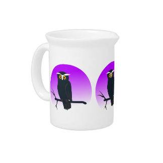 Spooky Owl in Nights Sky Beverage Pitchers