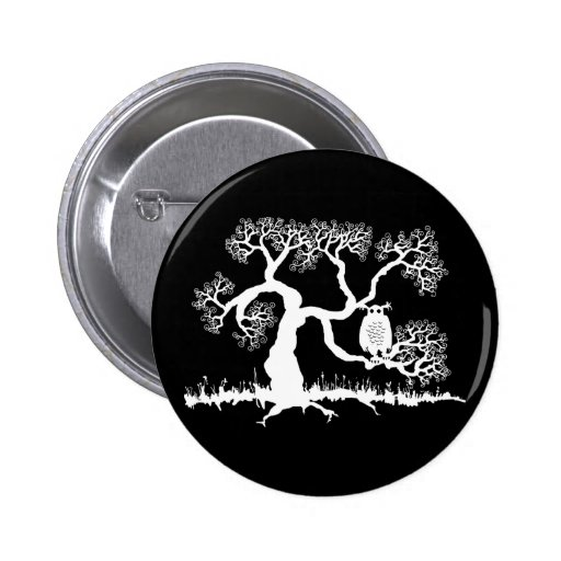 Spooky Owl In Tree 2 Inch Round Button