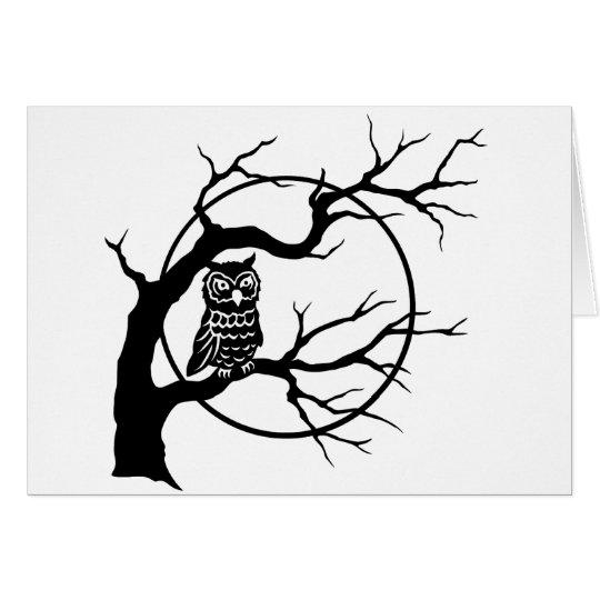Spooky Owl in Tree Card