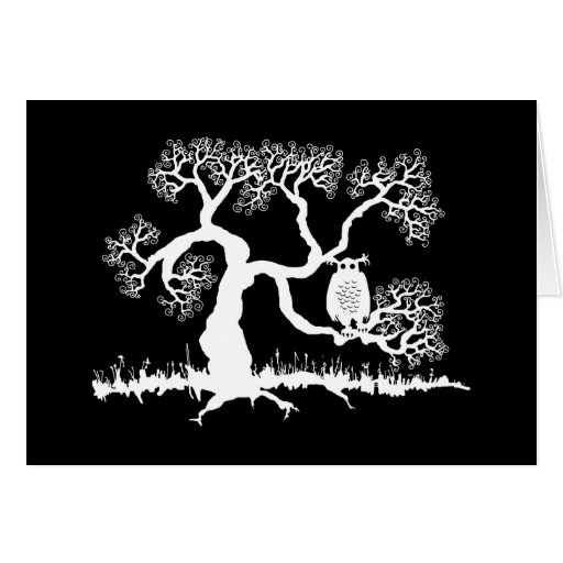 Spooky Owl In Tree Greeting Cards