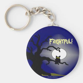 Spooky Owl in Tree Halloween Basic Round Button Keychain
