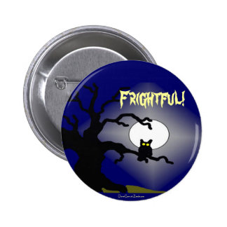 Spooky Owl in Tree Halloween Pinback Buttons