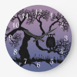 Spooky Owl In Tree Round Clock