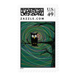 spooky owl in woods postage