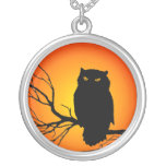 Spooky Owl Silver Plated Necklace